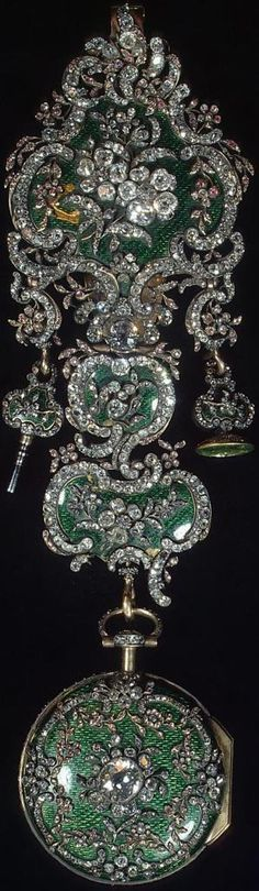 """"""" Watch on Chatelaine """" by  Jean Fazy.      With wrench and seal, gold silver, polished and rough diamonds, glass, enamel and an emerald (probably the gem of the seal) Russia / St. Petersburg / Hermitage all created in 1770's,"""