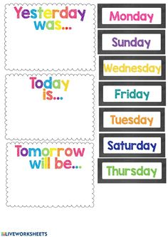Days of the week English Activities For Kids, Learning English For Kids, English Lessons For Kids, English Worksheets For Kids, Preschool Learning Activities, Preschool Lessons, Teaching Spanish, Days Of The Week Activities, Listening Activities