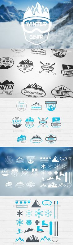 Winter Season Badges Logos Template PSD, Layered PNG, Vector EPS, AI Illustrator