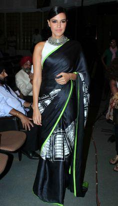 Neha Dhupia Fashion: Bollywood Celebrities in Beautiful Designers Saree 2013 pics Lehenga, Anarkali, Bollywood Saree, Bollywood Fashion, Bollywood Actress, Indian Attire, Indian Ethnic Wear, Ethnic Fashion, Asian Fashion