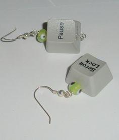 computer key earrings