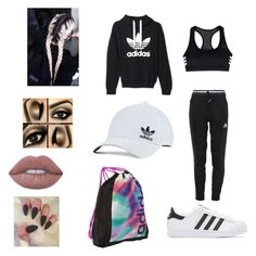 """""""Adidas!!!!!!!!!!!"""" by bris-muffins ❤ liked on Polyvore featuring adidas, adidas Originals and Lime Crime"""