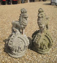 Victorian Antique Armourial Lion Gate Finials