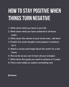 Positivity would help a lot
