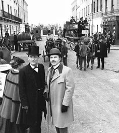 Jeremy Brett and David Burke as Sherlock Holmes and Dr. John Watson in The…