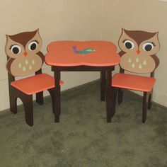 Brown and Coral Little Girls Table and Owl Chair Set. $220.00, via Etsy.
