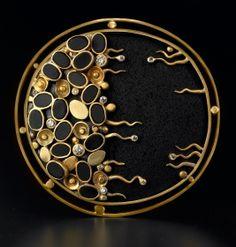 Brooch by Judith Kaufman (diamond, lava rock, onyx, gold) Enamel Jewelry, Metal Jewelry, Jewelry Art, Sterling Silver Jewelry, Gold Jewelry, Vintage Jewelry, Fine Jewelry, Jewelry Design, Designer Jewelry