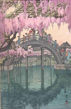 Drum bridge at Kameidô shrine Tokyo (1927) by Yoshida Hiroshi (1876-1950).