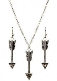 "(MSJS2780) ""Sparks Will Fly"" Arrowhead Necklace & Earrings"