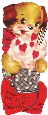 Vintage Valentine Card Cocker Spaniel Dog Soda Die Cut for Children Kids | eBay