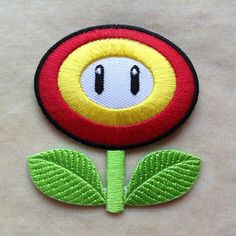 Fire Flower Super Mario Iron On Patch by PatchForestShop on Etsy