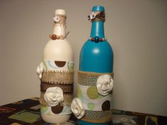 Decorative/Ornamental Wine Bottles by TouchedbyGraceHandcr on Etsy