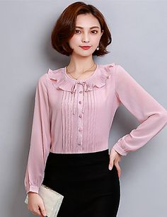 Women's Casual/Daily Formal Simple Cute Spring Summer Blouse,Solid Round Neck Long Sleeve Polyester Thin 5704946 2017 – $14.39