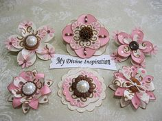 Creamy Collection Pink and Brown Paper Embellishments and Paper Flowers for Scrapbooks Cards Mini Albums and Papercrafts