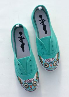 Excited to share this item from my shop: Turquoise Owl lace up Shoes - Owlet - Owl Print - Barn Owl White Snowy Night Owl - Feather Bird Slipons - Drawing Painted Pumps - plimsolls Purple Shoes, Lace Up Shoes, Me Too Shoes, White Shoes, Painted Canvas Shoes, Hand Painted Shoes, Owl Shoes, Cat Flats, Owl Feather