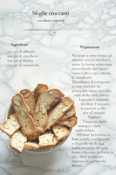 the belly of the wolf: crispy puff with egg white and almonds Italian Biscuits, Italian Cookies, Italian Desserts, Italian Recipes, Biscotti Cookies, Yummy Cookies, Italy Food, Easy Delicious Recipes, Dairy Free Recipes