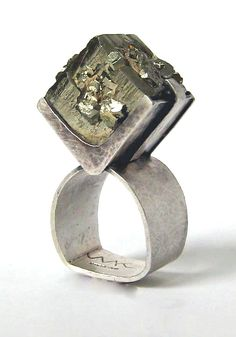 Ring | Mary Kretsinger. Sterling silver and Pyrite.