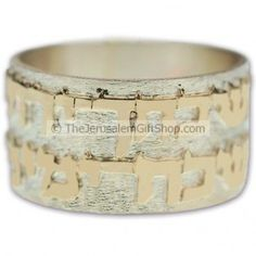 Hebrew scripture ring - This sterling silver ring has written in Hebrew around the edge 'If I forget thee, O Jerusalem, let my right hand forget her cunning' (Psalm 137:5) in 14 carat gold.