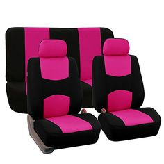 FH-FB050112 Full Set Flat Cloth Car Seat Covers Pink / Black Color- Fit Most Car, Truck, Suv, or Van