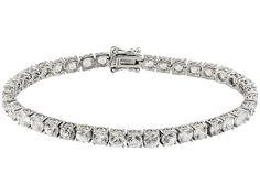 13.25ctw Round White Zircon Sterling Silver Tennis Bracelet