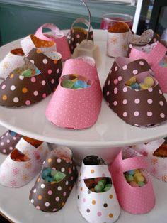 Baby shower booties treat holder - bjl
