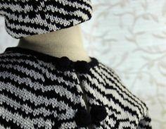 Cotton Knit Black and white zebra baby girl cardigan by Renattoni, $68.00