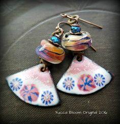 Enameled Copper Earrings, Copper Slabs, Retro, Vintage, Lampwork Glass, Fans, Pink, Flowers, Rustic, Beaded Earrings by YuccaBloom on Etsy