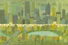 """En Central Park en la Quinta Avenida.  Edición limitada 24 """"x 36"""" grabado por Matte Stephens."""