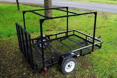 Multi Purpose Camping Trailer Build for Customer with a larger frame and custom rack it is versatile and easily towed. Mount a Roof top tent, bikes, kayaks.