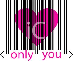 iCLIPART - Royalty Free Clip Art Image of a Heart Behind a Bar Code With the Words Only You