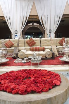 Living room area with sofa and rose petals, Hotel, Agadir, Morocco, North Africa, Africa | ~LadyLuxury~