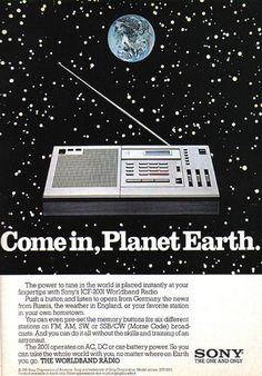 1981 print ad for the Sony ICF-2001 Worldband Radio.