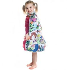 Great Pretenders - Color Me Cape - Mermaid - This olouring cape is perfect for ages Machine washable, pink satin lining. Complete with 8 colour markers. Building For Kids, Blue Satin, Fall Collections, Gifts For Kids, Cape, Mermaid, Fancy, Summer Dresses, Boutique
