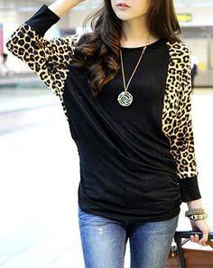Women's Leopard Pattern Stitching Plus Size Cotton Blend Color Matching T-shirt