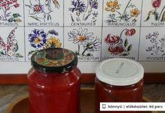 Zöldfűszeres darált paprika Pesto, Jar, Food, Red Peppers, Meal, Essen, Jars, Hoods, Meals