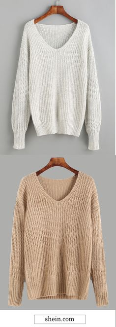 V Neck Drop Shoulder Sweater. More cozy sweater outfit at shein.com.