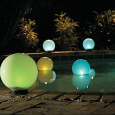 Solar pool floats (Lights) to help light the pool after dark...great for summer!
