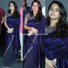 Bhama in navy blue half and half saee for Arjuna movie promo audio release