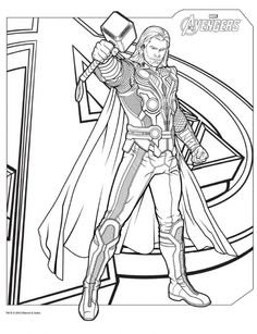 DemiGod Thor From Avengers Coloring Pages