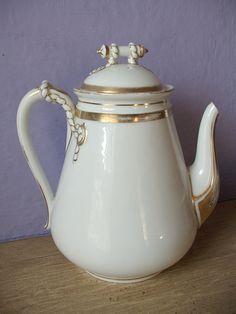 Tetera de porcelana Haviland Limoges Francia 1870 antigua tetera victoriana, regalo de boda de oro y blanco, antigua tetera, cafetera antigua