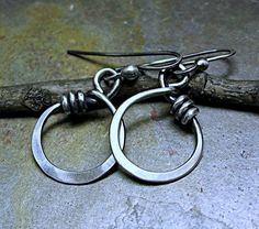 Sterling Silver Hoop Earrings Dangle - Little Wrapped Oh Petite Hoops (29.50 USD) by LavenderCottage