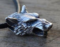 Lobo de plata cabeza collar colgante Original plata por WearTheRare