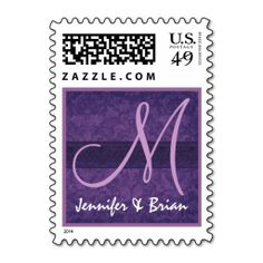 Wedding Monogram Royal Purple and Lilac Wedding Stamps. It is really great to make each letter a special delivery! Add a unique touch to invites or cards with your own photos or text. Just click the image to learn more!