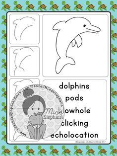 Dolphin directed drawing. Ocean theme art projects for elementary school. Sea themed journal prompts. Sea creature simple art projects for Kindergarten and Grade 1 with simple word banks. #tpt #teacherspayteachers #teacherofig #teacherofinstagram #iteachtoo https://www.teacherspayteachers.com/Product/Ocean-writing-prompts-and-directed-drawings-May-Journal-Prompts-Kindergarten-3686052