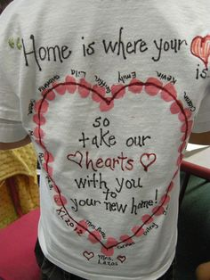 using the children's fingerprints I created a going away t-shirt for a child that moved away in the middle of the school year
