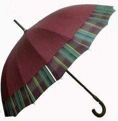 Walking Umbrella With Tartan Edge Windproof