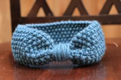 Knitted Blue Bow Headband and Ear Warmer for by KnitPurlStitch, $8.00
