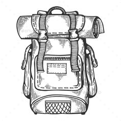 Tourist Backpack Engraving Vector Illustration Source by ourkiddo drawing Travel Illustration, Graphic Design Illustration, Engraving Illustration, Backpack Drawing, 3d Laser Printer, Pen Art, Art Drawings Sketches, Body Art Tattoos, Design Art