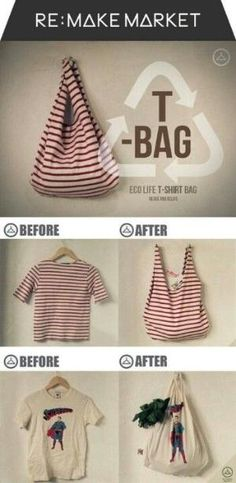 Have an old T-Shirt you're not using anymore? Recycle it into a new bag! #DIY #DIYStyle | Visit www.facebook.com/goldenbirdwings by rhoda