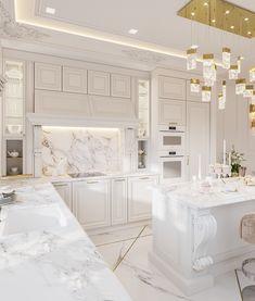 Home Room Design, Dream Home Design, Kitchen Room Design, Home Decor Kitchen, Luxury Kitchen Design, Interior Design Kitchen, Best Interior Design, Modern Classic Interior, Classical Kitchen